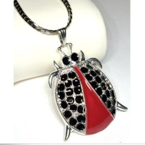 "Silver Ladybug Necklace Insect Lady Bug 30"" X Long"